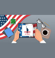 hands using tablet with liberty statue on screen vector image vector image