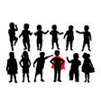 happy and attractive kids silhouettes vector image vector image