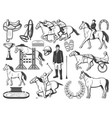 horserace polo racing sport and hippodrome items vector image vector image