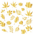 icon set gold foil leaves foliage nature vector image vector image