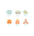 india yoga studio logo set health center labels vector image vector image