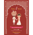 Indian Wedding Bride Groom Cartoon Save The Date vector image vector image