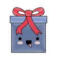 kawaii gift box icon with decorative ribbon i in vector image vector image
