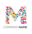 letter m logo with blue yellow red particles vector image