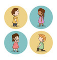 little kids cartoon icons vector image vector image