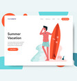 man posing with a surfboard concept vector image