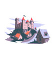 medieval castle on hill vector image vector image