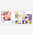 minimalist style posters set abstract geometric vector image