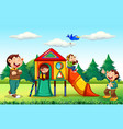 monkey family at playground vector image vector image