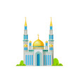 mosque with golden dome and crescent moon isolated vector image