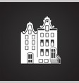old architecture house on black background vector image vector image