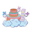 party cake with flowers and and candle number one vector image