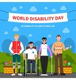 People With Disabilities Support Flat Poster vector image