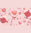 pink greeting web banner with top view objects vector image vector image