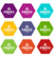 pirate ship icons set 9 vector image vector image