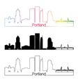 Portland V2 skyline linear style with rainbow vector image vector image