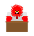 red angry boss punches table office life vector image vector image