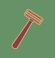 safety razor sign cordovan icon and vector image
