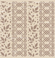 seamless pattern with ornament leaves in brown vector image