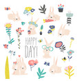 set cute cartoon bunnies and color flowers vector image