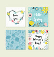 set of cute colorful floral elements vector image