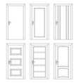 set of interior doors outline design vector image vector image