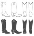 set of with cowboy boots vector image