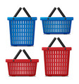 set red and blue empty laundry basket isolated vector image vector image
