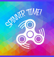 spinner time with finger spinner silhouette over vector image vector image