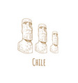 stone statues of moai statue idol chile vector image