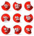 Ten to Ninety Percent Off Red Labels vector image vector image