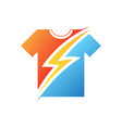 thunder on t-shirt in flat style on white vector image