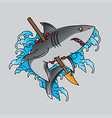 traditional old school shark tattoo vector image vector image