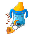 with trumpet cartoon baby drinking from training vector image vector image
