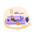 woman reading at home vector image