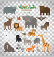 zoo animals icons on transparent background vector image vector image