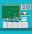 laboratory equipment jars beakers flasks vector image