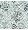 Seamless background with fish pattern vector image