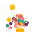 happy girl sitting on horse shape spring rider vector image