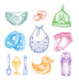baby newborn clothing in hand drawn style isolated vector image vector image