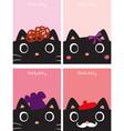 black kitty cartoon doodle vector image vector image