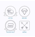 Brilliant gift box and wedding rings icons vector image