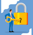 businessman unlocking huge padlock with key vector image vector image