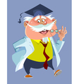 cartoon chubby male professor in a robe and cap vector image vector image