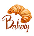 cartoon croissant with bakery lettering bagel vector image vector image