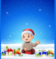 cartoon sitting boy in the winter background with vector image