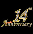 celebrating 14th anniversary golden sign with vector image