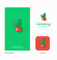 cherries company logo app icon and splash page vector image vector image
