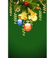 christmas card template with fir-tree mistletoe de vector image vector image