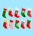 christmas socks stickers vector image vector image